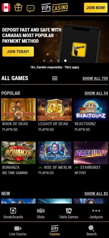 VIPs casino home screen